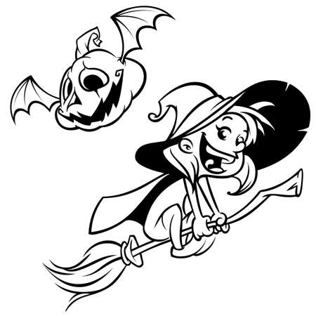 Halloween witch flying on her broom outlines. Black silhouette of cartoon witch. Coloring book Иллюстрация