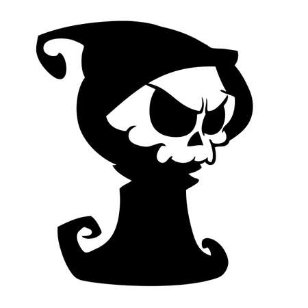 mortal danger: Cartoon grim reaper with scythe  isolated on a white background. Halloween cute death character in black hood outline. Vector silhouette Illustration