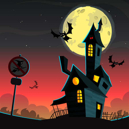 monsters house: Scary haunted house. Vector Halloween background Illustration