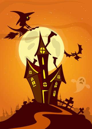 Halloween spookhuis. Vector illustratie