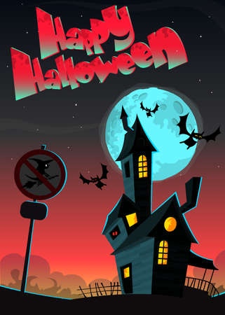 ghost house: Cartoon haunted house. Halloween greeting card with haunted house, bats and witch sign isolated on night background with full moon. Vector banner for party