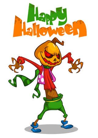 Halloween scary pumpkin head scarecrow. Vector postcard for Halloween party Illustration