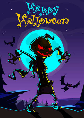 pumpkin head: Halloween scary pumpkin head scarecrow. Vector banner for Halloween party Illustration