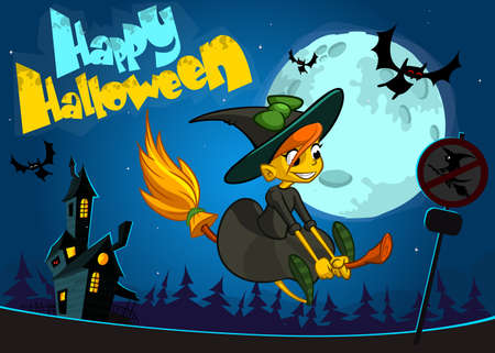 background house: Cute witch flying on her broom. Vector Halloween banner