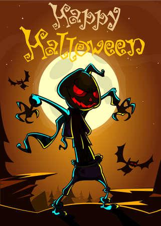 scary pumpkin: Halloween scary pumpkin head scarecrow, vector postcard for Halloween holiday