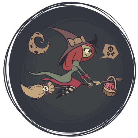 Halloween cute witch flying on her broom on a full moon night. Vector illustration Çizim