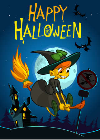 Halloween background with cute witch flying on her broom on a full moon night. Vector illustration Çizim