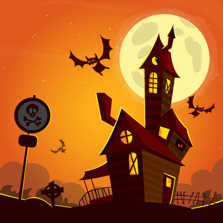 ghost house: Haunted house on night background with a full moon behind. Vector Halloween background.