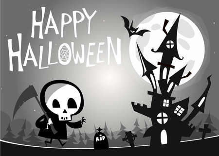 Death with a scythe and haunted house on night background. Vector  illustration. Black and white