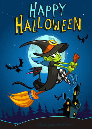 broomstick: Halloween witch with broomstick isolated on night background. Vector Halloween party invitation template. Halloween elements witch, cat, bat, haunted house, moon Illustration