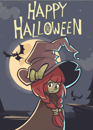 big hat: Halloween postcard with cute witch in a big hat on a full moon night. Vector illustration Illustration