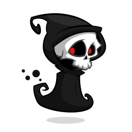 Grim reaper cartoon character isolated on a white background. Halloween vector death character