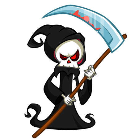 Grim reaper cartoon character with scythe isolated on a white background. Cute death character in black hood Vectores