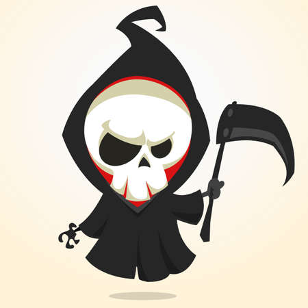 Vector cartoon illustration of spooky Halloween death with scythe, skeleton character icon isolated on white background