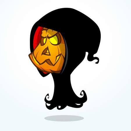 Cartoon grim reaper pumpkin isolated on white. Halloween vector illustration of pumpkin head in black hood