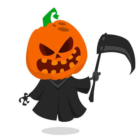 pumpkin head: Cartoon pumpkin head monster icon. Vector pumpkin reaper with scythe isolated on white Illustration