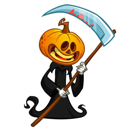 Cartoon pumpkin head monster. Vector pumpkin reaper in black hood with scythe isolated on white 向量圖像