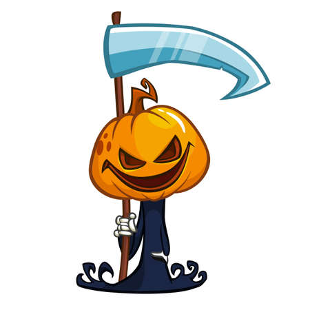 pumpkin head: Cartoon cute pumpkin head icon. Vector pumpkin reaper with scythe isolated on white