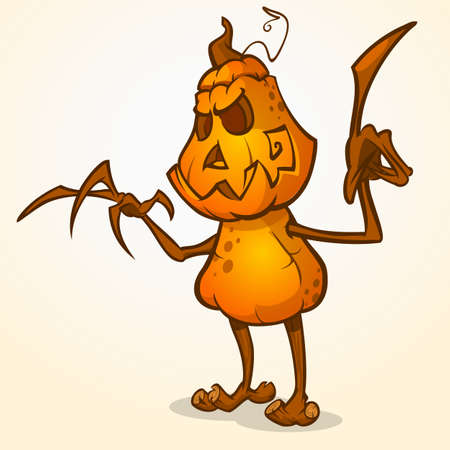 Halloween cartoon scarecrow with pumpkin head. Vector cartoon character isolated on white Illustration