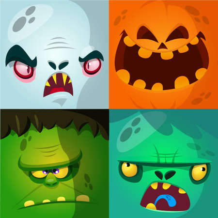 Cartoon monster faces vector set. Cute square avatars and icons. Monster, pumpkin face, vampire, zombie Ilustração