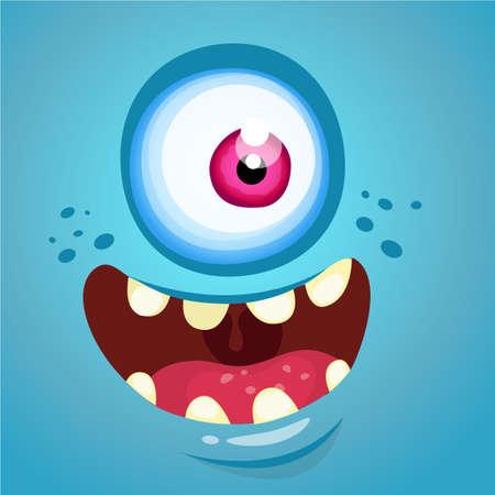 one eye: Cartoon monster face. Vector Halloween blue monster with one eye