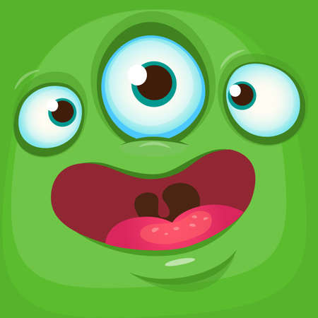 Cartoon monster face. Vector Halloween green monster avatar with three eyes smile