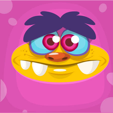 Cartoon monster face. Vector Halloween pink monster avatar