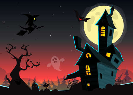 spooky house: Halloween haunted moonlight night background with spooky house and cemetery, can be use as flyer, banner or poster for night parties