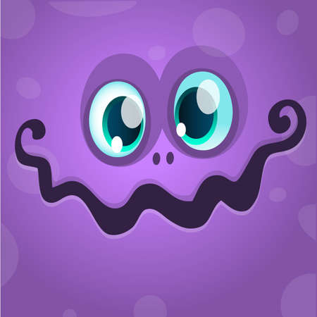 Cartoon monster face. Vector Halloween violet monster avatar 向量圖像