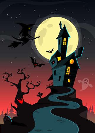 Creepy Old Halloween Horrable House. Cartoon vector background