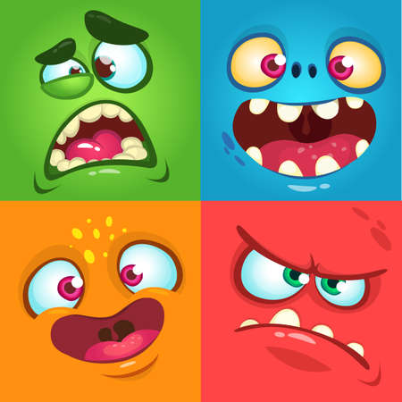 Cartoon monster faces set. Vector set of four Halloween monster faces