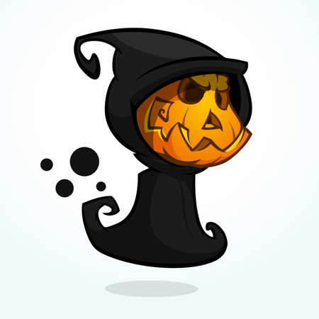 pumpkin head: Cartoon Grim Reaper With Pumpkin Face isolated on white. Halloween Vector Illustration of angry pumpkin head