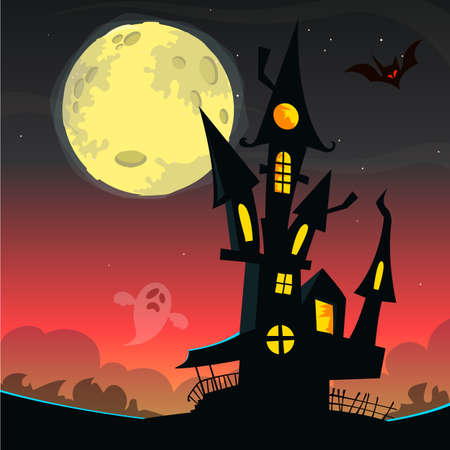 Scary old ghost house. Halloween card or poster. Vector illustration