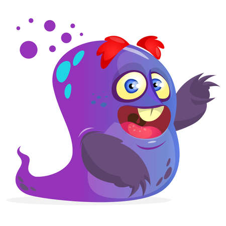 Blue monster. Vector cartoon