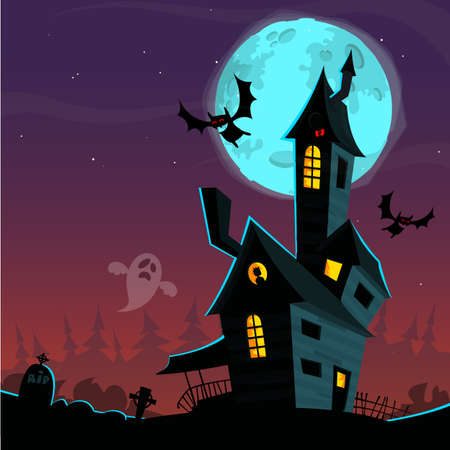 ghost house: Scary old ghost house. Halloween cardposter. Vector illustration Illustration