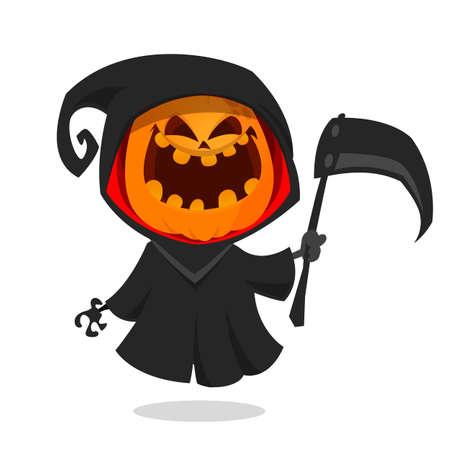 Cartoon pumpkin head monster icon. Vector pumpkin reaper with scythe isolated on white Illustration