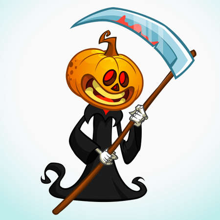 pumpkin head: Cartoon pumpkin head monster with red eyes. Vector pumpkin reaper in black hood with scythe isolated on white