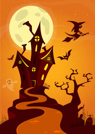 ghost house: Spooky old ghost house. Halloween cardposter. Vector illustration Illustration