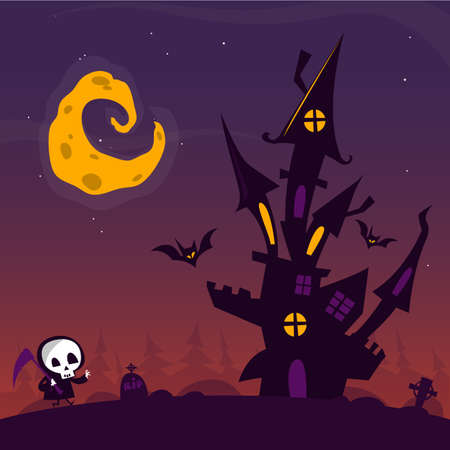 cute house: Scary old ghost haunted house with cemetery and walkind cute death. Halloween card or poster. Vector cartoon illustration