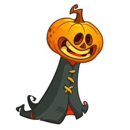 pumpkin head: Halloween pumpkin head ghost in black hood. Vector illustration isolated on white