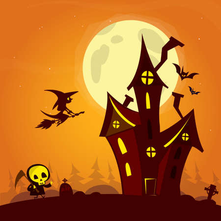 fool moon: Spooky old ghost house with fool moon and flying witch. Halloween cardposter. Vector illustration