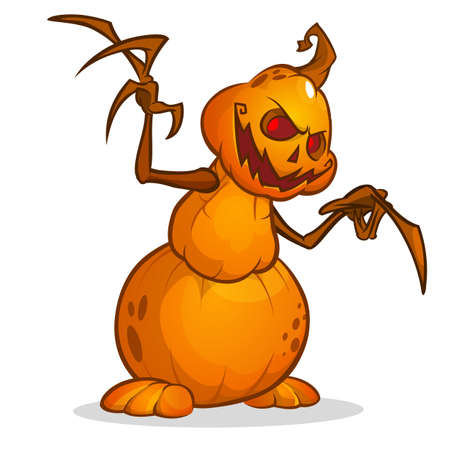 jack'o'lantern: Cartoon vector illustration  of a Jack-o-Lantern pumpkin curved in a mean expression, isolated on white