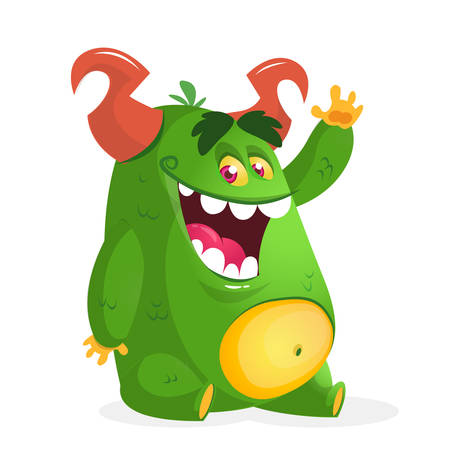 Cartoon green fat monster. Vector character Illustration