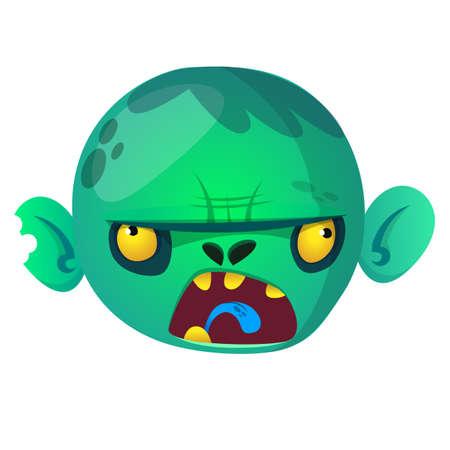 Zombie Head Cartoon Character. Halloween vector zombie head icon