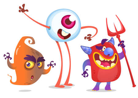 Cartoon Monsters. Vector set of ghost, devil and eye monster Illustration