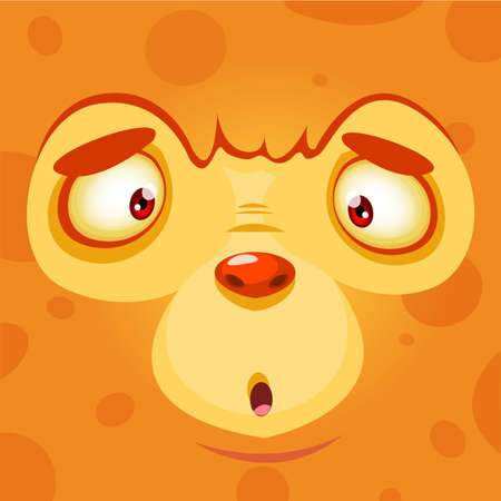 Cartoon monster face. Vector Halloween orange monster avatar