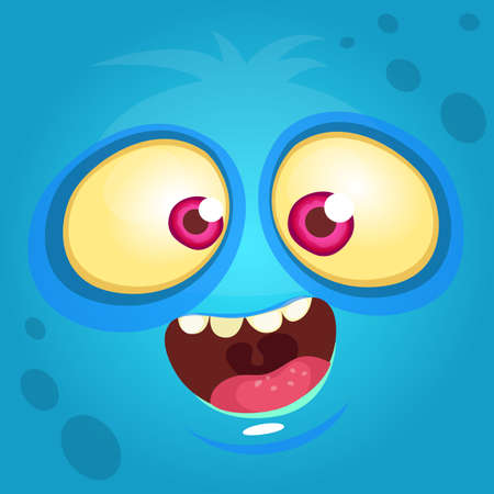 Cartoon monster face. Vector Halloween blue monster avatar 向量圖像