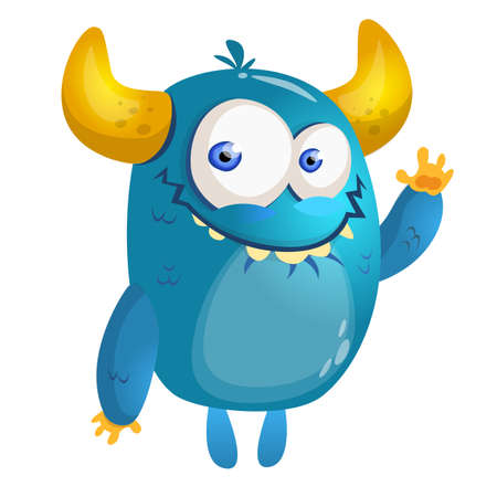 Cartoon blue monster. Vector illustration