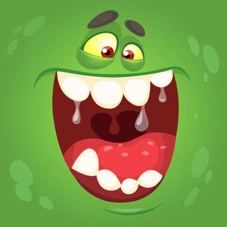 Cartoon monster face. Vector Halloween green monster avatar