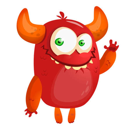 Cute cartoon monster. Halloween vector red monster